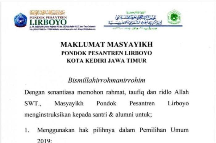Lirboyo, Keluarkan Maklumat Dukung Jokowi-KH Ma'ruf Amin