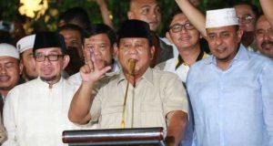 Calon Presiden no urut 02, Prabowo Subianto memberikan keterangan pada jumpa pers