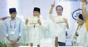 Dua pasang capres-cawapres Prabowo Subianto-Sandiaga Uno dan Joko Widodo-Ma'ruf Amin